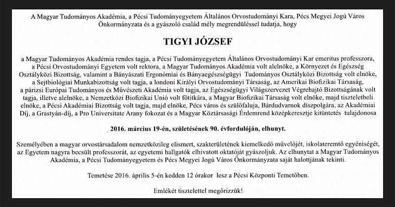 Elhunyt Tigyi József akadémikus Bárdudvarnok díszpolgára