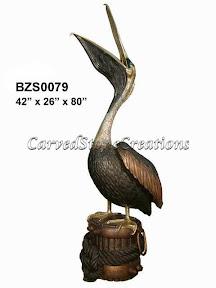 Bronze, Open Mouth, Pelican, Statue