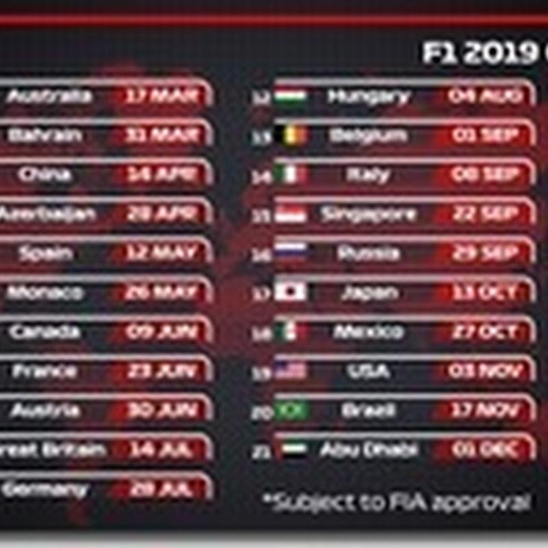FIA dirama calendario provvisorio 2019