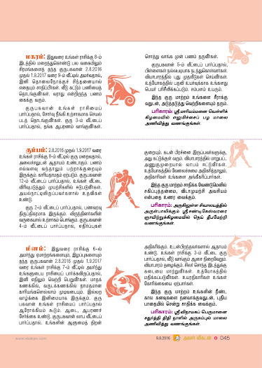 2016 Guru Transit Astrological Predictions - Aval Vikatan