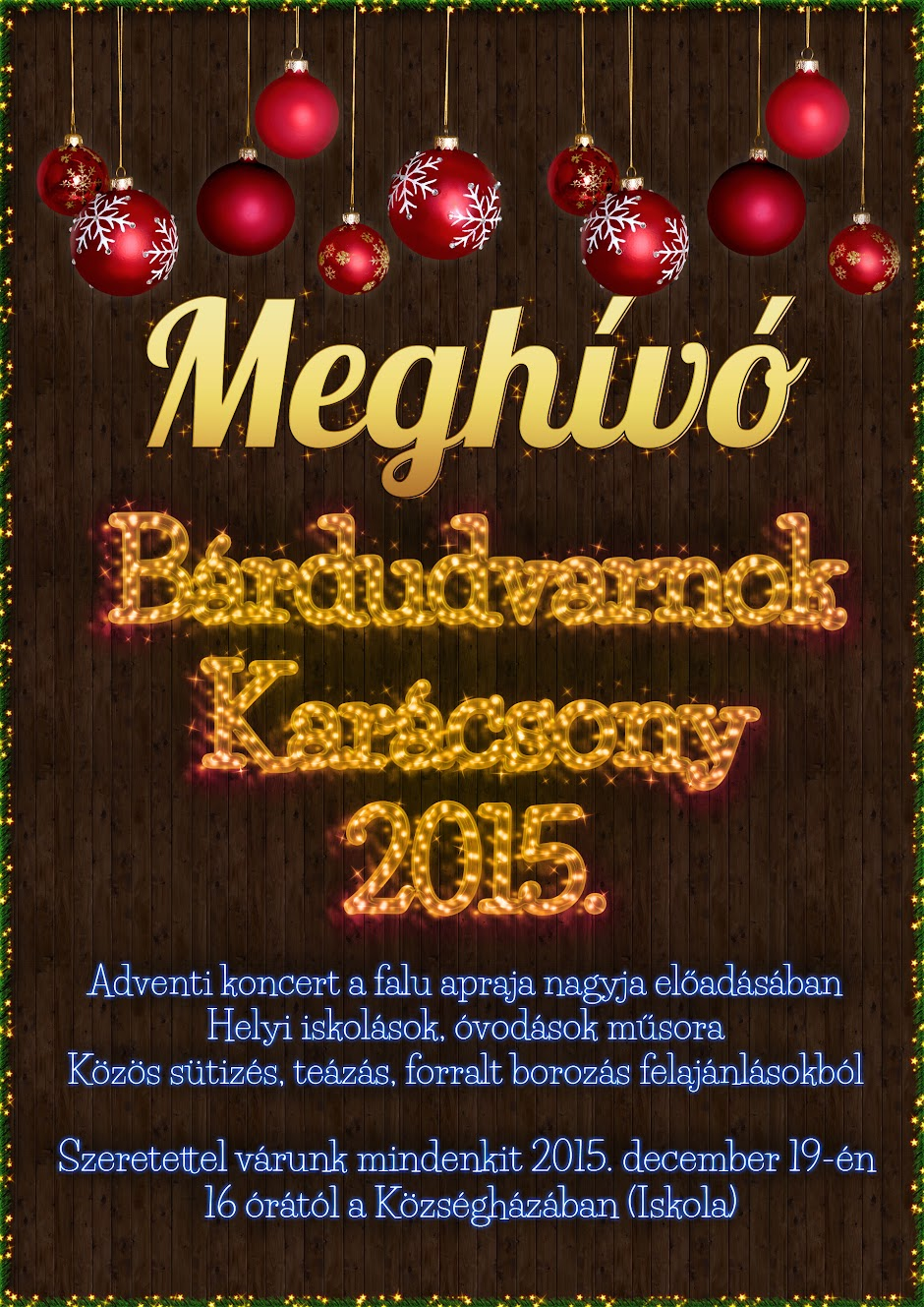 MEGHÍVÓ A FALU KARÁCSONYÁRA plakát
