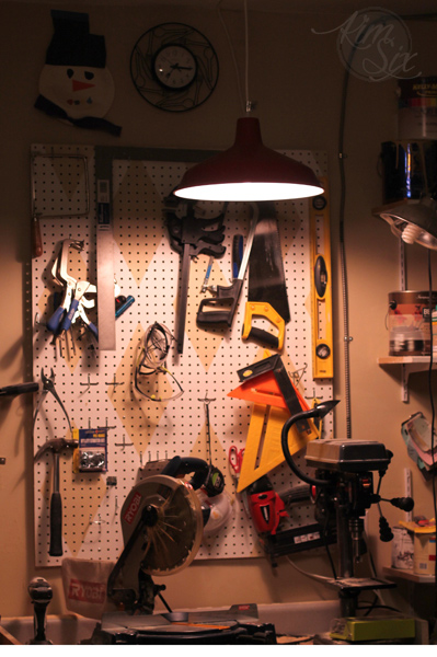 Lighting up work area with hanging light