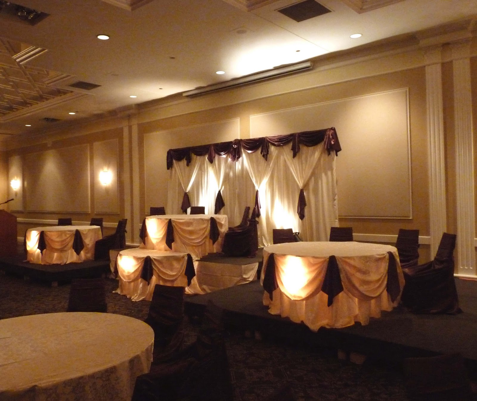 Decor rent toronto chair cover and wedding decorations 2011 wedding decorations chair covers and linens by httpdecor rent chocolate satin and soft gold brocade at le park banquet hall junglespirit