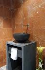 Rojo Alicante marble & Basalt Vanity unit & Basin