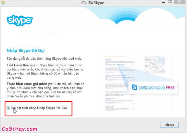 Cài đặt Nhấp Skype để goi