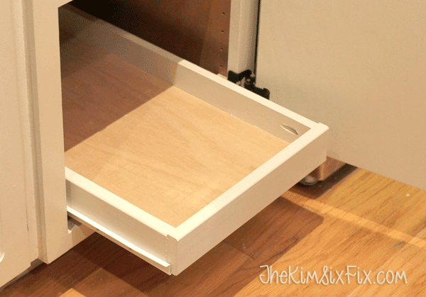 DIY pull out shelf in cabinet