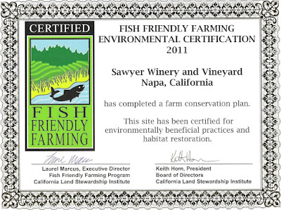 Sawyer Winery and Vineyard Fish Friendly Farming Certificate