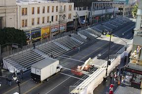 Hollywood Blvd. preparing for a parade