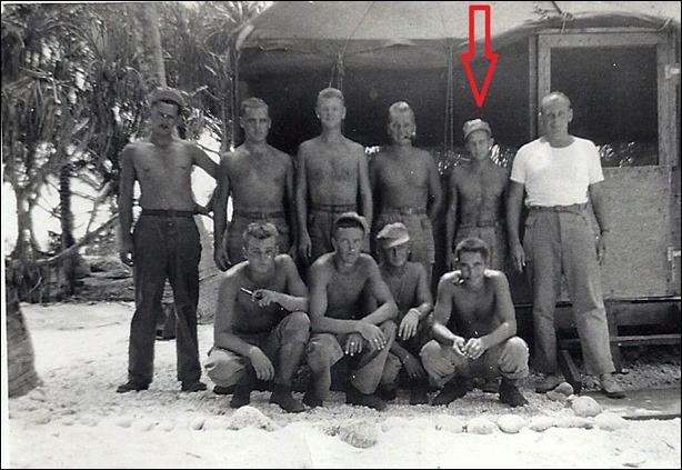 MILNE_Robert with WWII military unit - he is back row 2nd from right_cropped_arrow