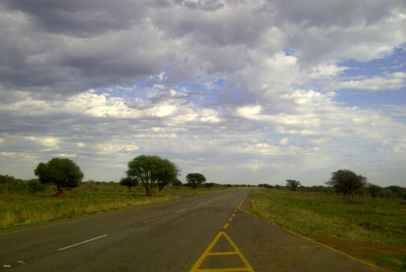 The turnaround point on my daily bike road on the road to Sikwane facing West