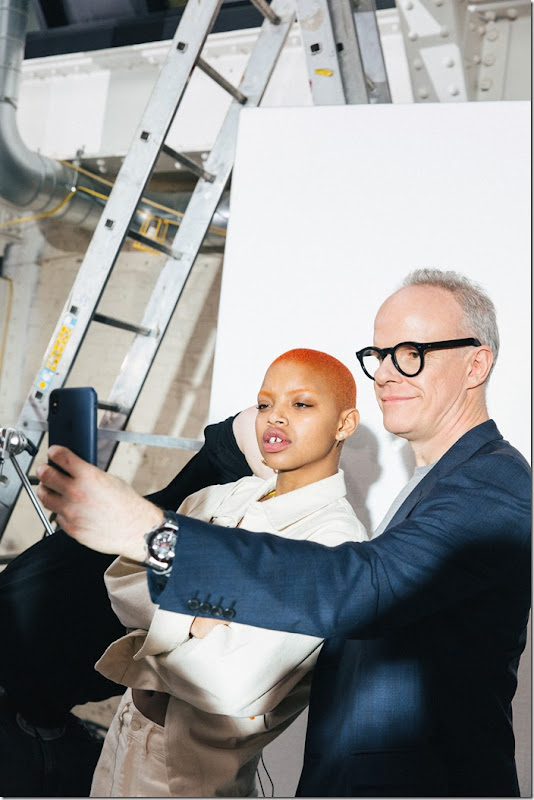 Slick Woods and Hans Ulrich Obrist pictured at the #WeWonder Mercedes-Benz Fashion Story 2018 Photo credit Lauren Maccabee