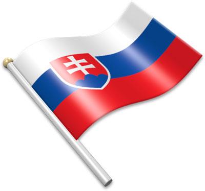 The Slovak flag on a flagpole clipart image