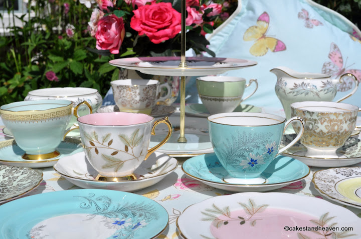 Mixed Pastels Vintage China Tea Set and Cake Stand