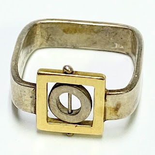 Sterling Silver & 18K Gold Square Ring