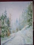 mgła w lesie, olej, płótno, 30x40cm