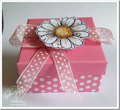box for ribbon challenge using daisy days stamps