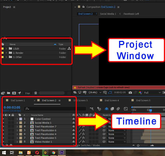 project window and timeline