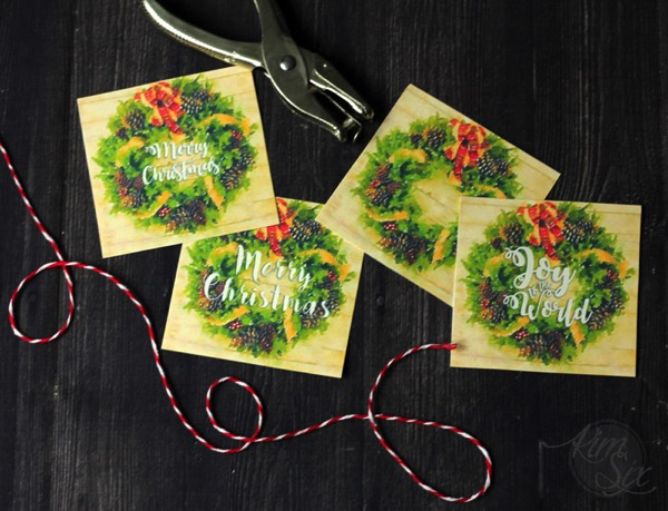 Four different gift tag printables watercolor wreath