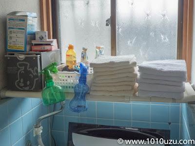 洗濯機上棚Before:パッケージがカラフルすぎる