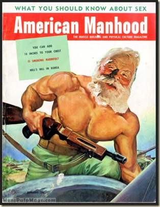 AMERICAN MANHOOD, Jan 1953 Xmas - Peter Poulton art REV