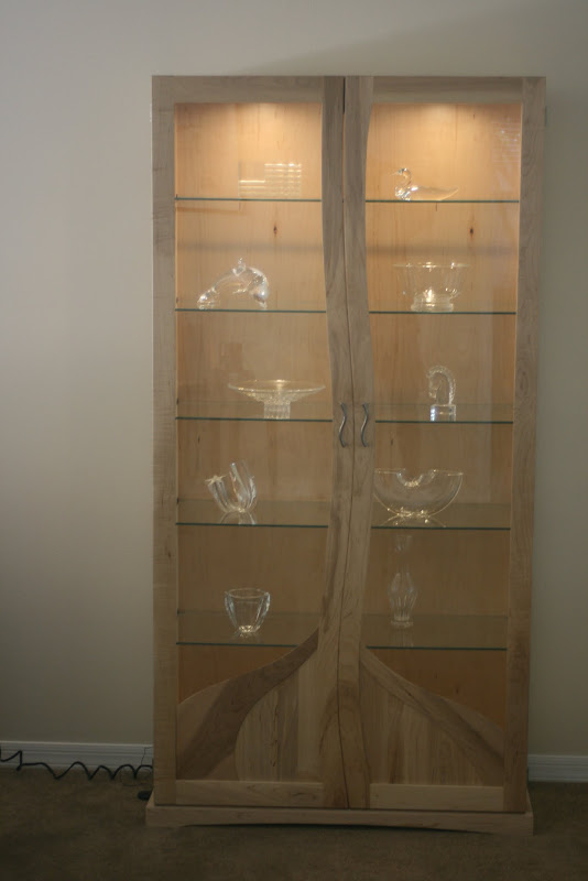37 X 74 X 15 Custom Lighted Curio Cabinet In Natural Maple