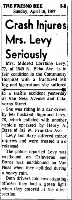 Sig & Loraine in Car Accident 4_16_1967 Fresno Bee