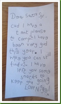Letter to santa from Nigel