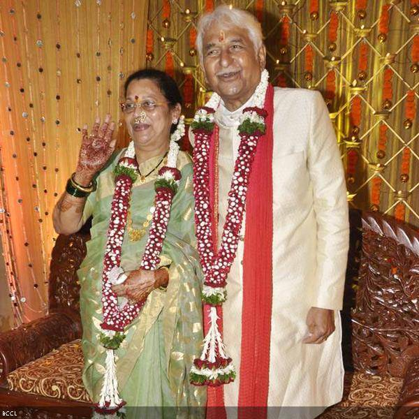 Well-known actor couple in Hindi and Marathi film industry, Seema and Ramesh Deo pose during their 50th wedding anniversary, held at ISKCON, in Mumbai, on July 1, 2013. (Pic: Viral Bhayani)