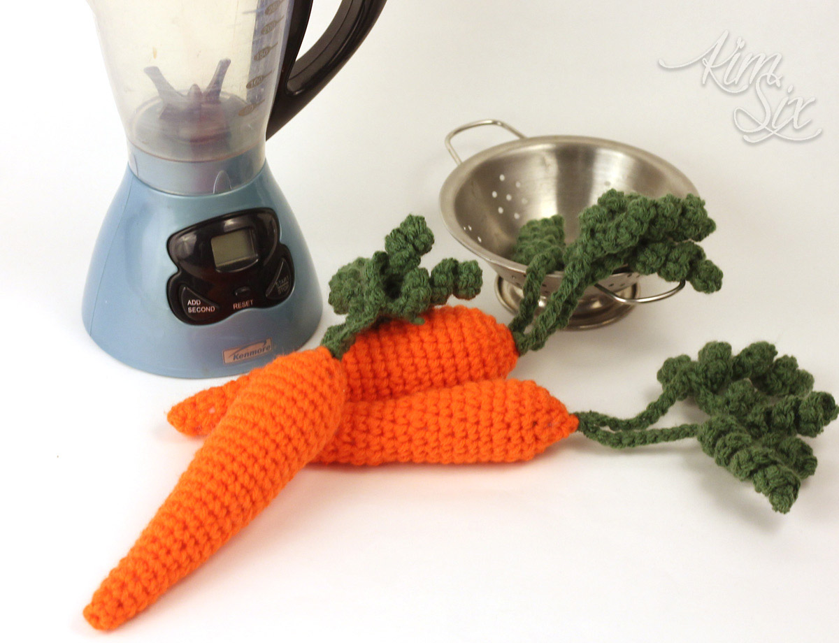 Crocheted carrots for kids