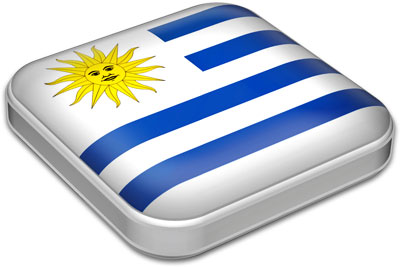 Flag of Uruguay with metallic square frame
