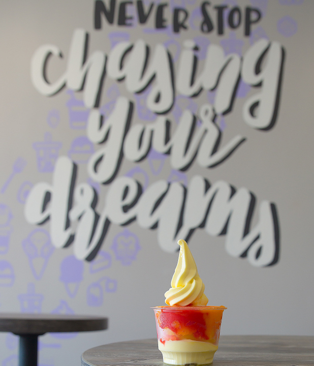 photo of Big Red Italian Ice with Dole Whip with the quote on a wall as the backdrop