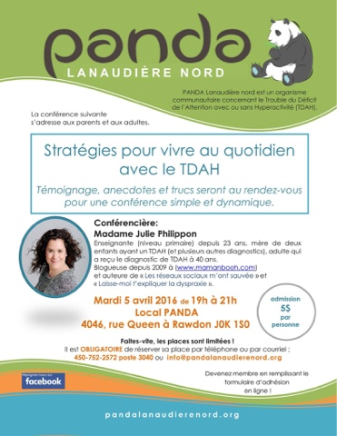 Conférence: stratégies pour vivre au quotidien avec le TDAH!