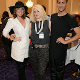 WWW.ENTSIMAGES.COM -   Abi Clarke, Lady Charlotte Lynham and Junaid Ahmed    at  LFW - Fashions Finest at Grand Connaught Rooms second show, London September 14th 2014                                                    Photo Mobis Photos/OIC 0203 174 1069