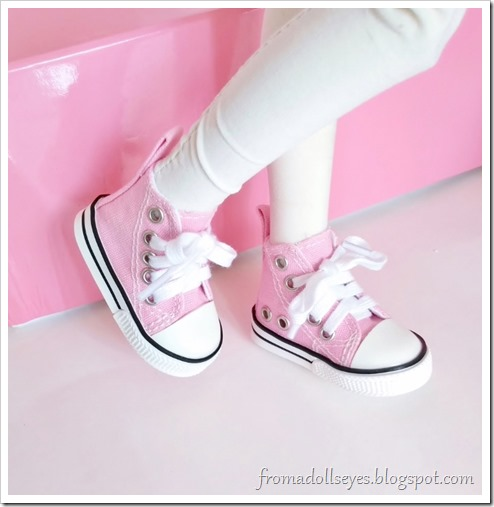 Trying on the cute pink doll sneakers, they are a perfect fit!
