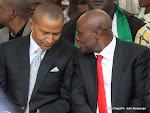 De gauche à droite : Moise Katumbi, Président du TP Mazambe  et Antoine Musanganya, Président du DCMP le 03/04/2013 au stade de martyrs à Kinshasa. Radio Okapi/Ph. John Bompengo