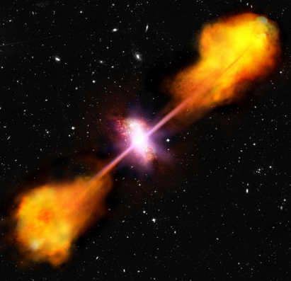 ilustração de um quasar numa galáxia formadora de estrelas