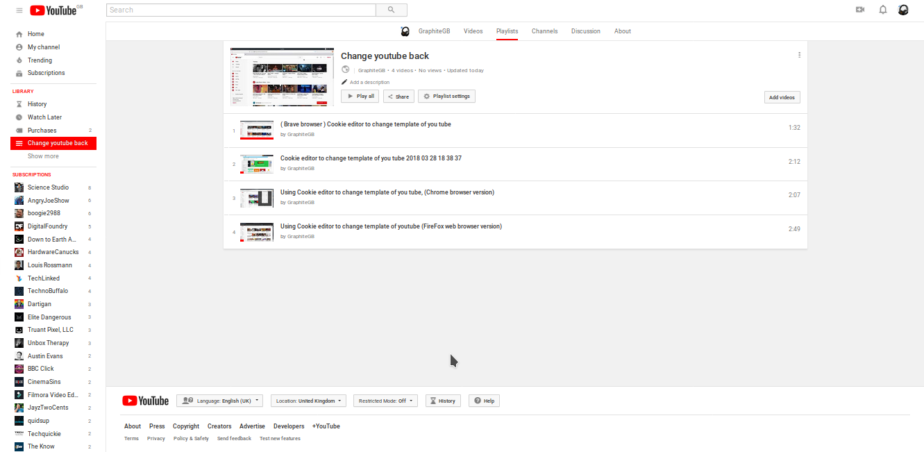 How To Revert Back To Old Youtube Layout Google Product Forums