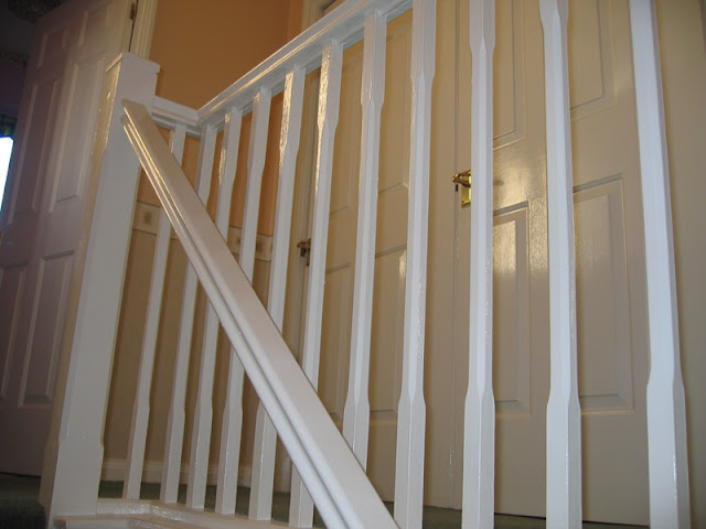 Paintinig of Spindles, handrails etc, in high gloss