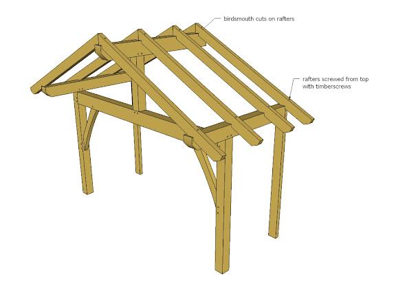 Timberframe Front Porch for Alaska Lake Cabin | Ana White ...