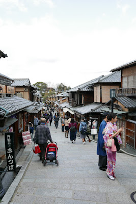 Kyoto - walking in the Higashiyama District, a preserved historic districts that feels like traditional old Kyoto, with the wooden buildings