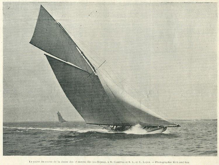 El yate SLEC, ex SHIMNA, en 1909. Foto de la revista Le Yacht, edición de 25 de diciembre de 1909.jpg