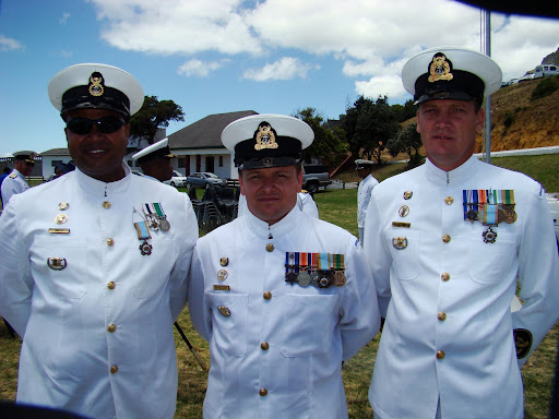 CPO N C Smith, left; CPO Ivor du Plessis, centre