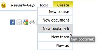 "Click ""Create"" menu's ""New bookmark"" link to create a stand-alone bookmark"