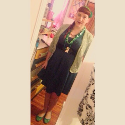 Vintage Green Dress, Green Polka Dot Sweater and Green Accessores for a St patrick's Day Inspired Pin Up Style Outfit