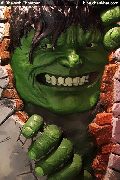 Hulk - a wall sculpture at the Superheroes located at Koregaon Park in Pune