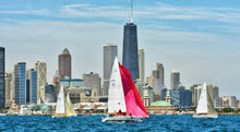 J/105s starting off Chicago for Mac Race