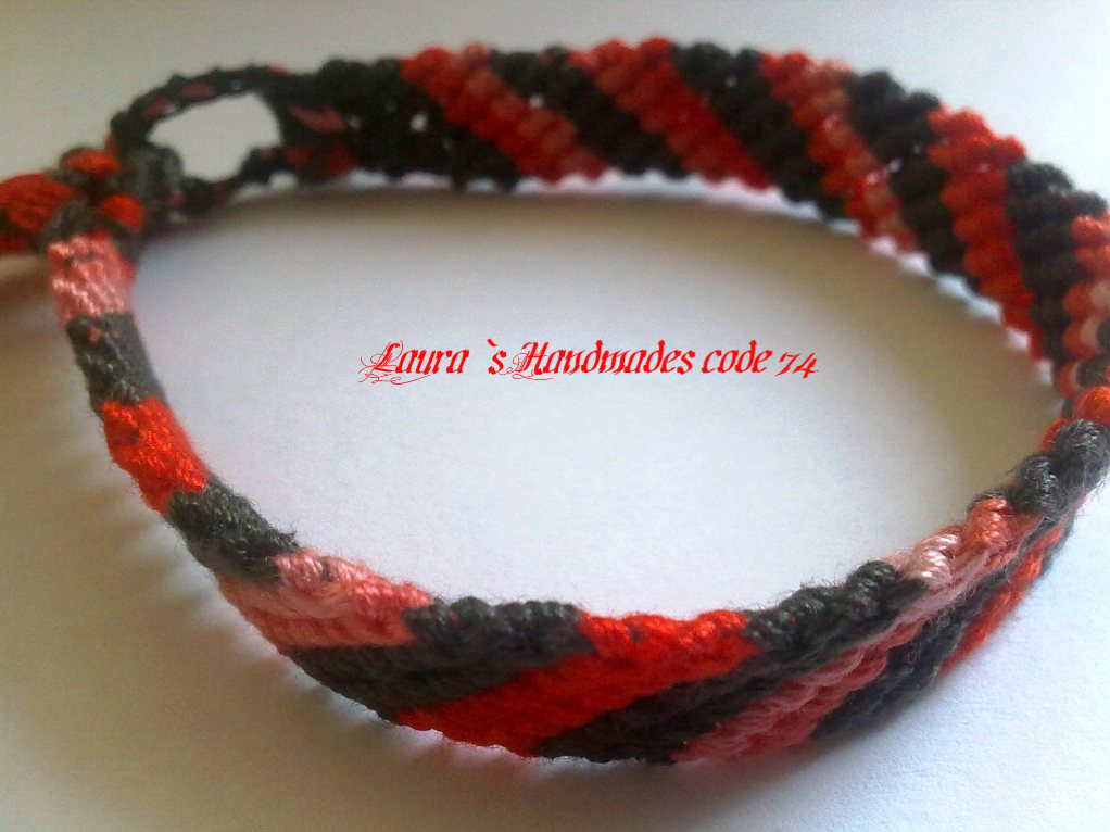 919715bc3a87e Friendship Bracelet Candy Stripe Pattern Red, Pink and Black Color ...