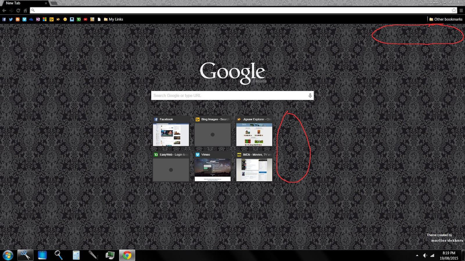 Chrome New Tab Home Page Missing Links - Google Chrome Help