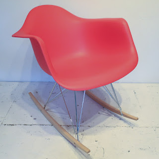 Eames-Style Red Rocking Chair