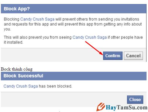 Xác nhận chặn game candy crush saga